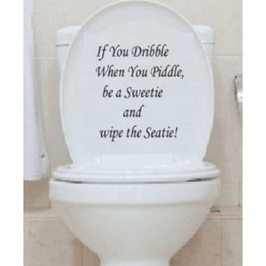 Toilet Seat Art Wall Quote Stickers Bathroom Decoration Decals Vinyl Art Decor