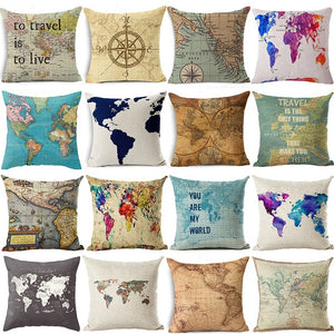 18x18 Inches  World Map Cotton Linen Square Pillowcase Cushion Cover Home Decor