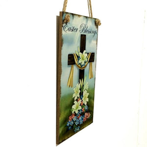 Stylish Easter Flower Cross Wall Wooden Hanging Board Ornaments Room Cafe Decoration