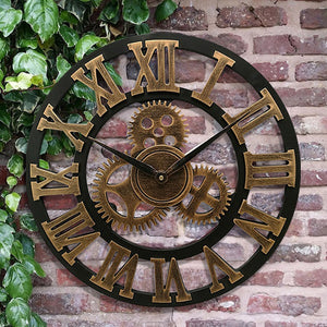 Steampunk Decorative 3D Retro Vintage Gear Handmade Wooden Wall Clock