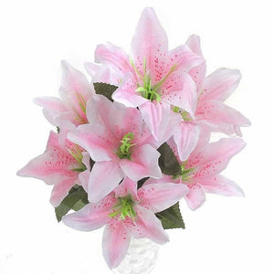 10 Heads Silk Flower Artificial Lilies Bouquet Home Wedding Fake Floral Decor