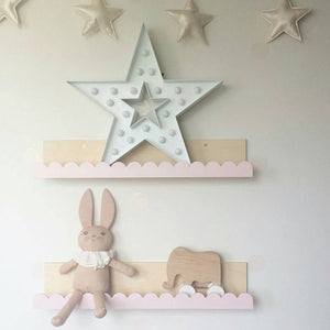 Super Cute Bowknot Shape Solid Wood Storage Rack Commodity Shelf Wall Decor Nordic Style Kids Room Decor
