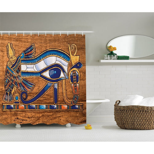 Egyptian Decor Collection, Egyptian Ancient Art Papyrus Depicting the Horus Eye Design Print , Polyester Fabric Bathroom Shower