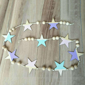 Charming Cute Stars Beads DIY Wood Banner Home Kids Room Nursery Party Wall Hanging Decor