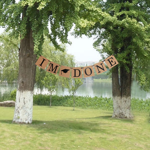 Vintage I'm Done Bunting Banner with Graduation Cap Party Hanging Garland