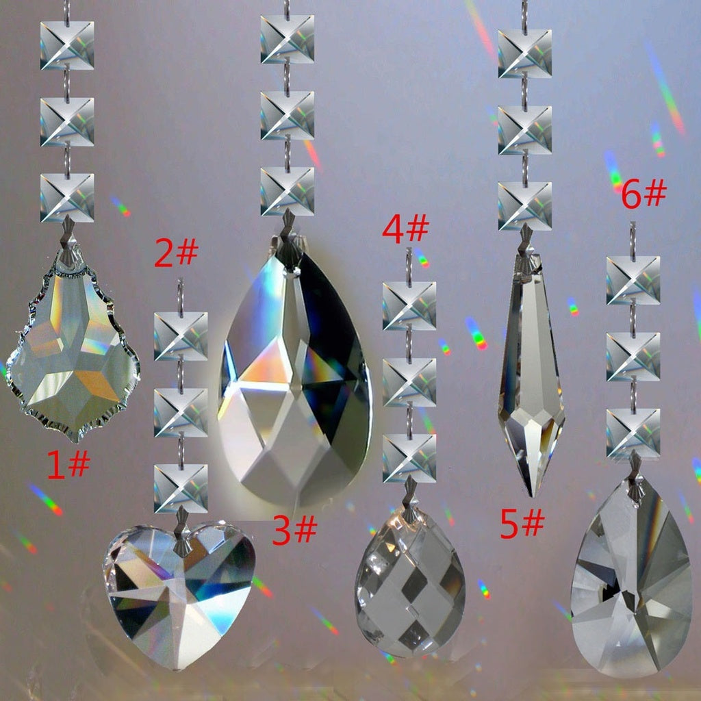 1PCS Hanging Chandelier Crystal Suncatcher Feng Shui Prism Rainbow Maker Window Hanger Decoration