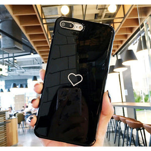 Super Cute Pink/black Love Heart Iphone Case for Iphone 6/6s Plus 7/7plus 8/8plus X Soft Silicone Shockproof Nonskid Cellphone C