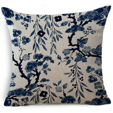 18 Inches Blue And White Porcelain Cotton Linen Throw Pillow Case Car Sofa Cushion Cover Home Decor