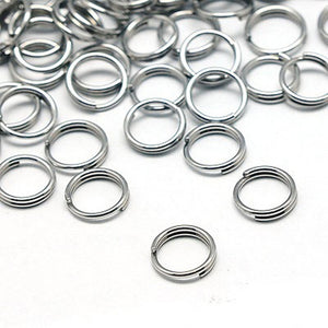 1000Pcs Mixed Sizes Silver Open Double Ring Key Connector Split Rings 4/5/6/8mm with Small Grid Storage Box
