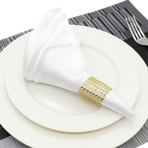 10pcs/set 30cm Table Napkins Cloth Square Satin Fabric Napkin Pocket Handkerchief for Wedding Birthday Home Party Hotel Gold Whi