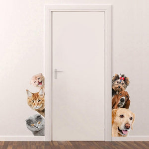 Sanwood® Lovely Dog/Cat Pattern Wall Sticker Removable Bedroom Door DIY Decal Home Decor
