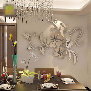 3D Mirror Flower Art Removable Wall Sticker Acrylic Mural Decal Home Room Decor