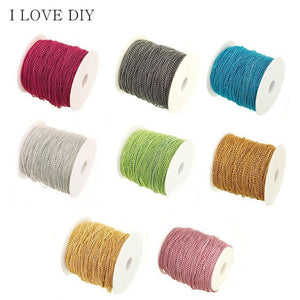 5 M Various Colors Cable Open Link Metal Chain Findings for Craft Jewelry Making