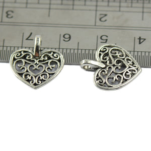 50 Pcs Tibetan Silver Filigree Heart Charms Pendants DIY Jewelry Making