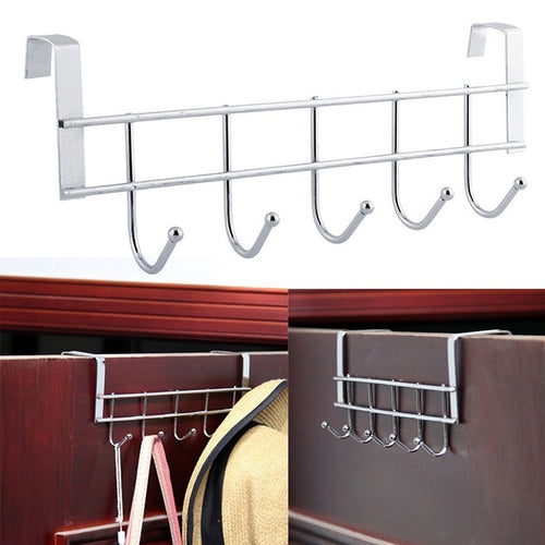 5Hooks Over The Door Home Bathroom Stainless Steel Hanger Clothes Hat Towel Rack