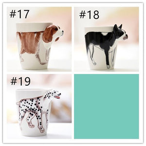 3D Hand-painted Ceramic Mugs Hand-painted Animal Mugs Cartoon Cups Painted Coffee Cups