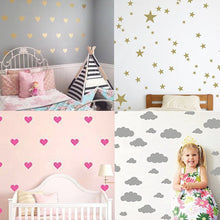 Hearts Stars Design Wall Stickers Removable Home Decoration Easy to Peel Wall Decor Sticker for Baby Kids Nursery Bedroom