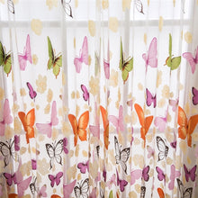 100 x 200cm Butterfly Print Screen Curtain Panel Window Room Divider Sheer Curtain Voile Door Window Sheer Curtain Panel
