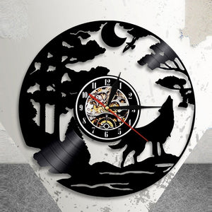 Wolf Vinyl Wall Clock Art Gift Room Modern Home Record Vintage Decoration Black 12inch