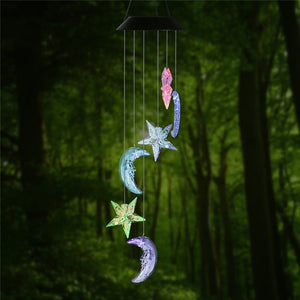Changing Color Stars and Moon Wind Chime, AceList Spiral Spinner Windchime Portable Outdoor Decorative Romantic Windbell Light f