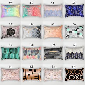 Classic geometric rectangular double-sided printing pillowcase furniture decorative car sofa office pad (30 * 50cm)