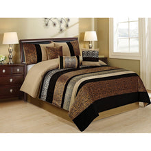 7 Piece SAMBER Faux Fur Patchwork Stripe Comforter Set Queen King CalKing Size In Multi Colors