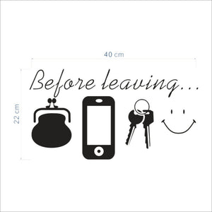 "Removable Waterproof ""Before Leaving"" Wall Sticker Office Wall Decal Home Decor"