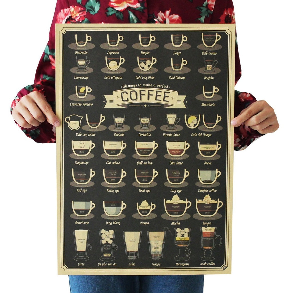 1pc Brand New Art Poster Cafe Home D¨¦cor Coffee Menu Coffee Tea