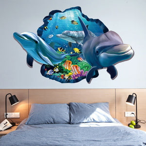 New Special Design 3d Effect Underwater World Dolphin Fish Background Wall Stickers Fashion Home Decoration ZHH1058/er
