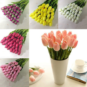 10pcs PU Artificial Tulip Flower Latex Real Touch Bouquet For Wedding Party