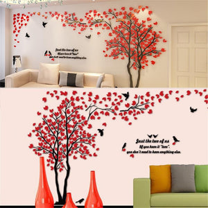 Tree Wall Stickers Warm Sweet Adornment Acrylic 3d Wall Stickers for Bedroom Sofa TV Background Wall Living Room