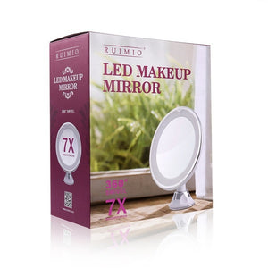 Adjustable 7x Magnification Lighted LED Makeup Mirror Bathroom Vanity Mirror Travel Mirror with Strong Suction Cup
