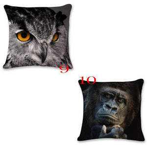 18 Inches Animals Patterns Square Pillow Case Sofa Decorative Tiger Lion Panda Elephant Gorilla Leopard Throw Pillow Cushion Cov