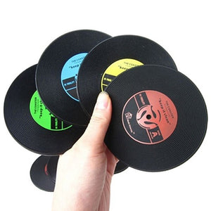 Top Quality Retro CD-Design Antislip Silicone Drink Coasters Pad Cup Coffee Mat Placemat