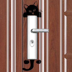 3PCS 3D Visual Cute  Kitten Switch Stickers Waterproof Removable Living Room Bedroom Wall Stickers