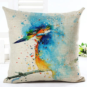 18 Inches Decoration Pillow Watercolor Bird Linen Blend Throw Pillow Case Living Room Sofa Cushion Cover