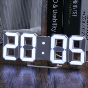 LED Digital Numbers Wall Clock with 3 levels Brightness Snooze Clock Table Wall Clock