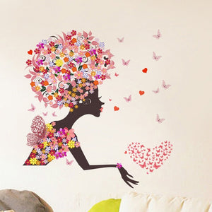 New Styling Removable Flower Girl Print Wall Sticker for Girls Room Decoration PVC Home Art