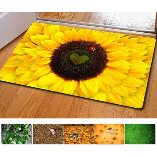 40*60cm Entrance Doormat Funny Plants Sunflower 3D Printing Door Floor Mat For Living Room Bath Kitchen Carpets Bedroom Rub Mats