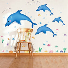 Dolphin Jump Ocean Pattern Lovely Waterproof Wall Decals Removable PVC DIY Wall Stickers Animal Decorations For Nursery Girls an