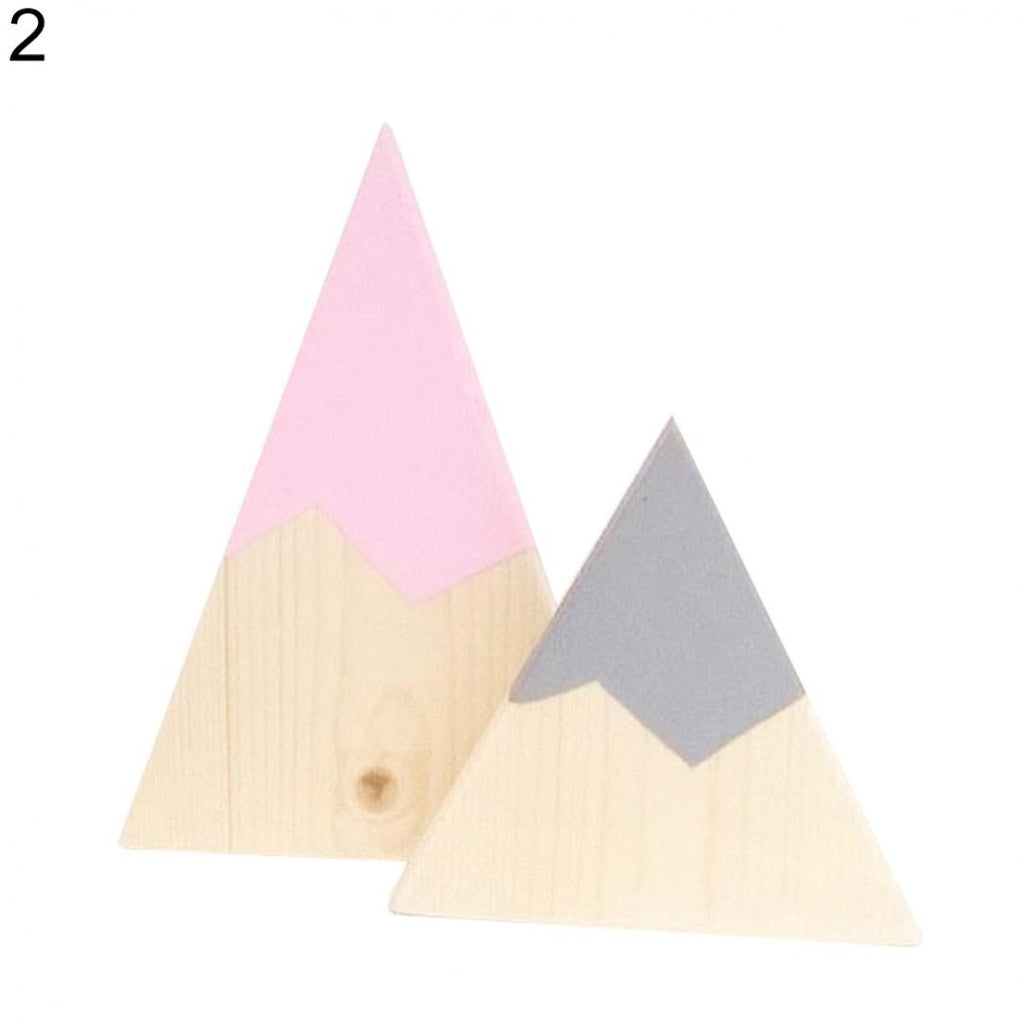 Stylish 2Pcs/Set Kids Room Decor Colorful Painting Triangle Wood Block Photography Prop