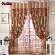 Upscale Floral Tulle Room Door Blackout Window Curtain Drape Panel Sheer Scarf with Beads