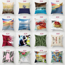 Simple art style linen printed pillowcase sofa cushion cover car cushion cover square pillowcase 45cmX45cm (17.7inchX17.7inch)