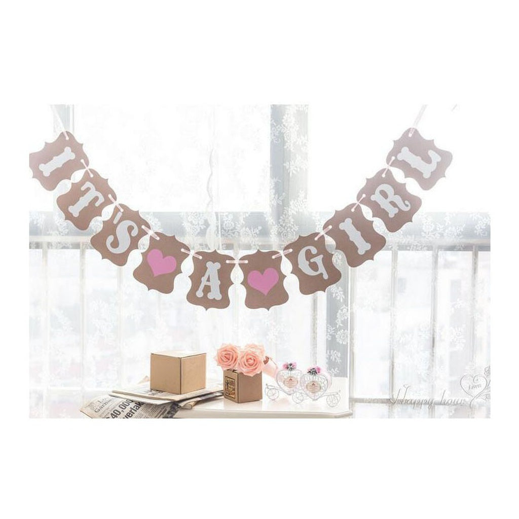 Baby Shower It's A Boy Girl Birthday Party Hanging Confetti Banner Party Baptism Decoration Bunting Favors Supplies Babyshower