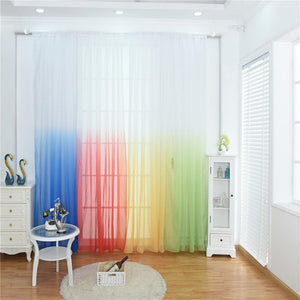 Sanwood® Gradient Color Window Tulle Curtain Sheer Drape Valance Bedroom Decor