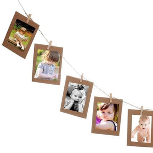 10 Pcs / Set 3inch Paper Photo DIY Wall Picture Hanging Frame Album Rope Clip Set Home Decor