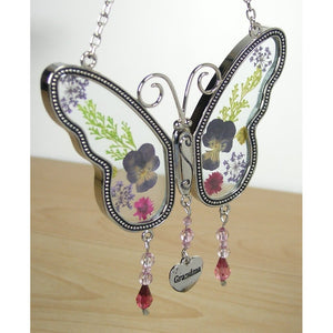 Grandma Butterfly Suncatcher with Pressed Flower Wings Embedded in Glass with Metal Trim - Grandma Heart Charm - Gifts for Grand
