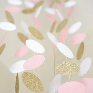 10FT Pink White& Gold Glitter Circle Polka Dots Paper Garland Banner Party Decor