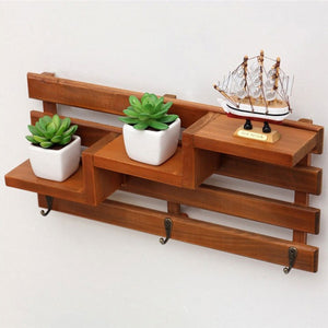 New Wooden Wall Shelf With 3 Key Hooks 3-Tier Board Ladder Hanging Shelf Shelves Coat Racks Bookcases