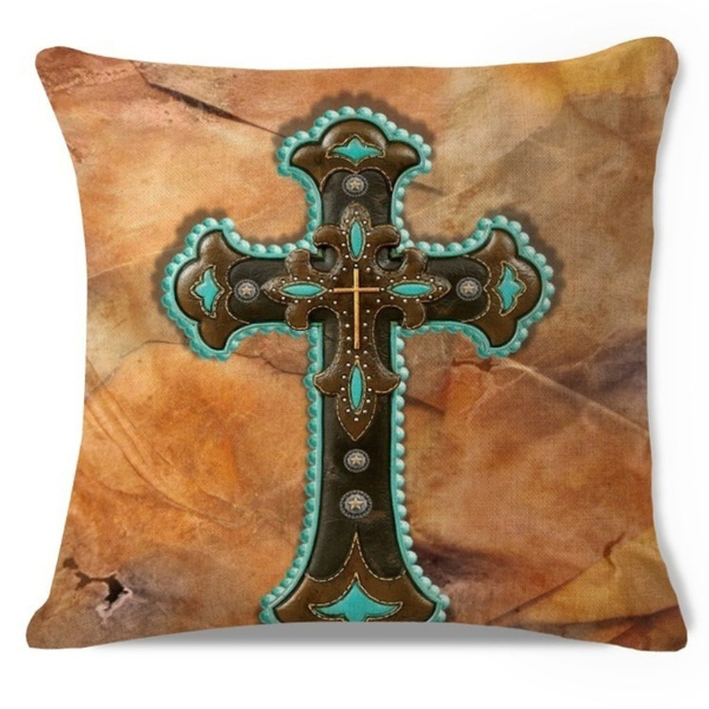 Jiu Western Cross Tan Leather Look Print Throw Pillow Case Cushion Cover Sofa Home Decorative 18